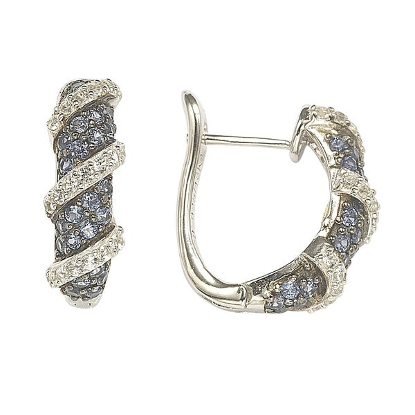 Suzy L. Sapphire and Diamond Accent in Sterling Silver Petite Wrap Around Earrings