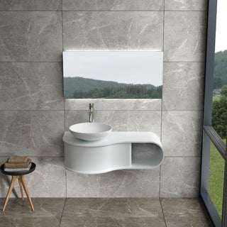 "39""Polystone Wall Mounted Vanity in Glossy Or Matte White Finish-No Sink"