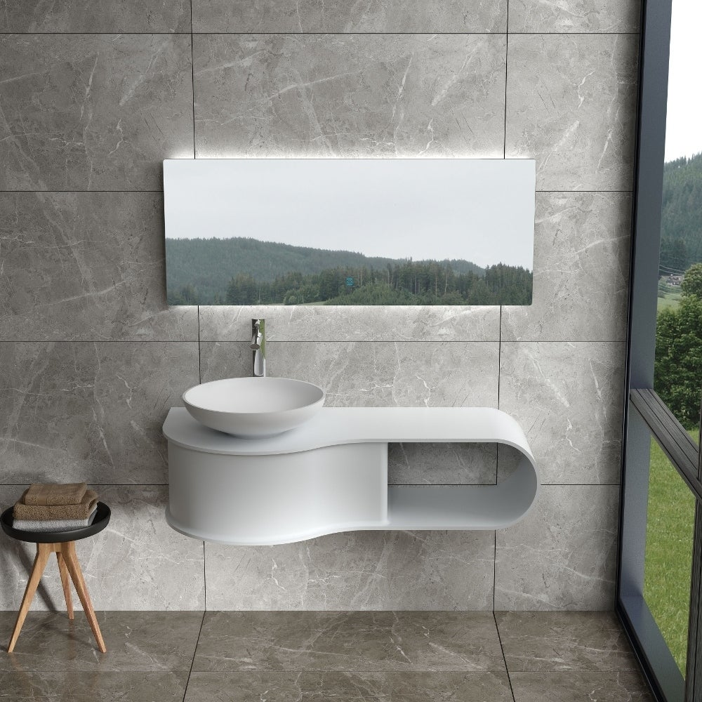 47Polystone Wall Mounted Vanity in Glossy or Matte White Finish-No Sink (ws-wv-vp9l-g - Glossy)