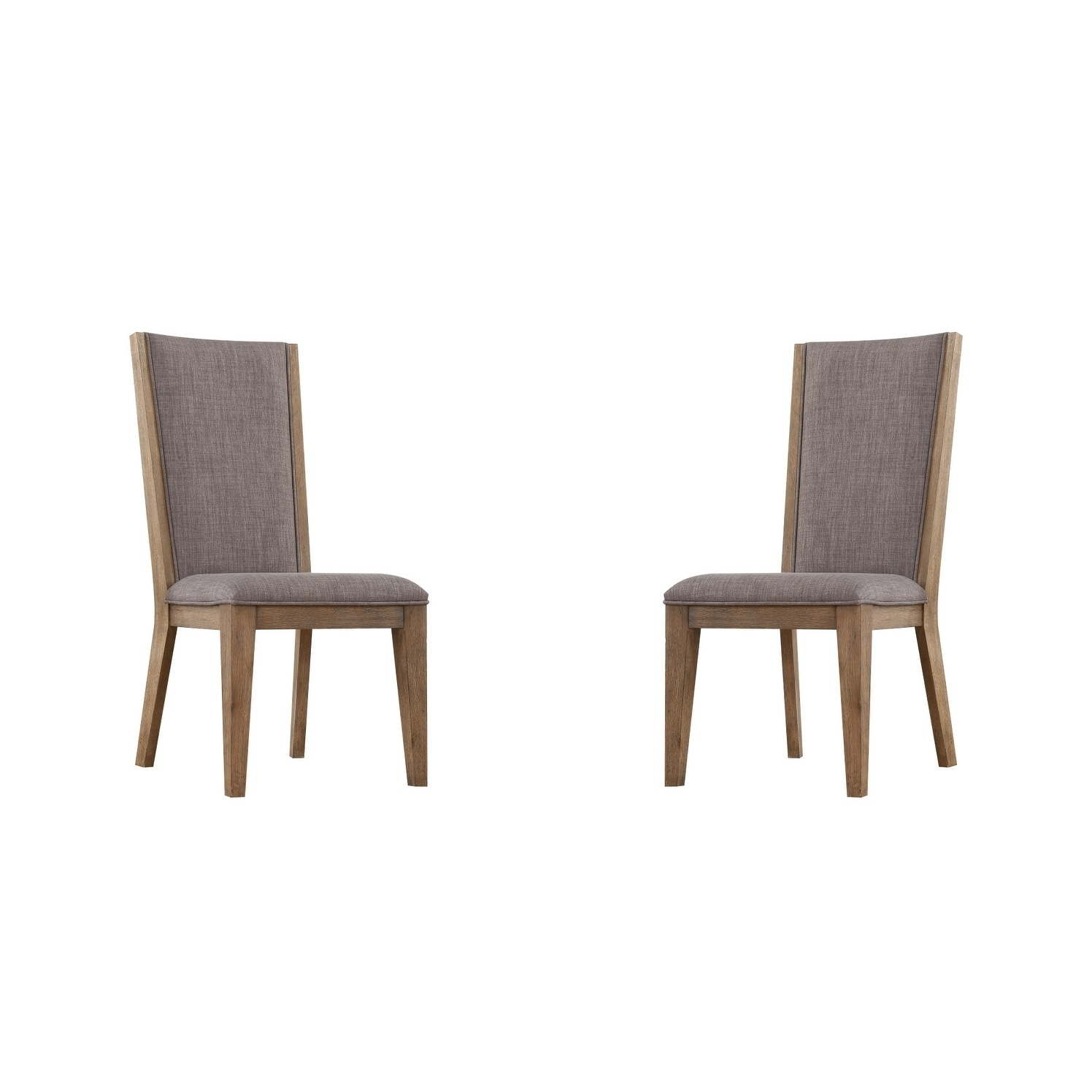 Vista Weathered Gray Upholstered Dining Chair with Tailored Welting And Oak Legs, Set of Two