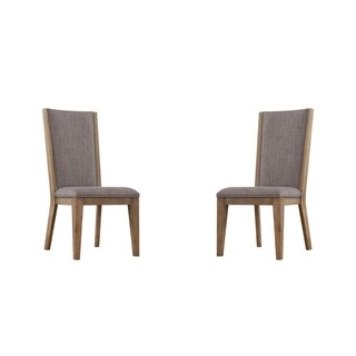 Emerald Home Vista Solid Back Upholstered Dining Chair, Weathered Gray