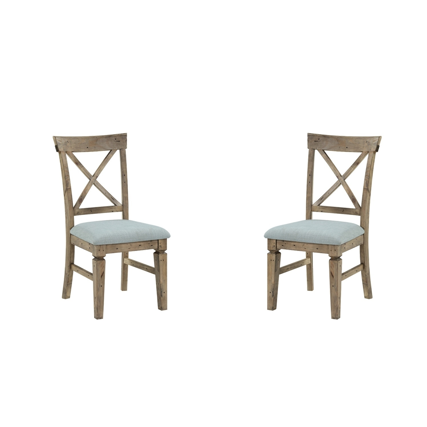 Carbon Loft Perez Reclaimed Pine and Black Dining Chair with Upholstered Seat (Set of 2)