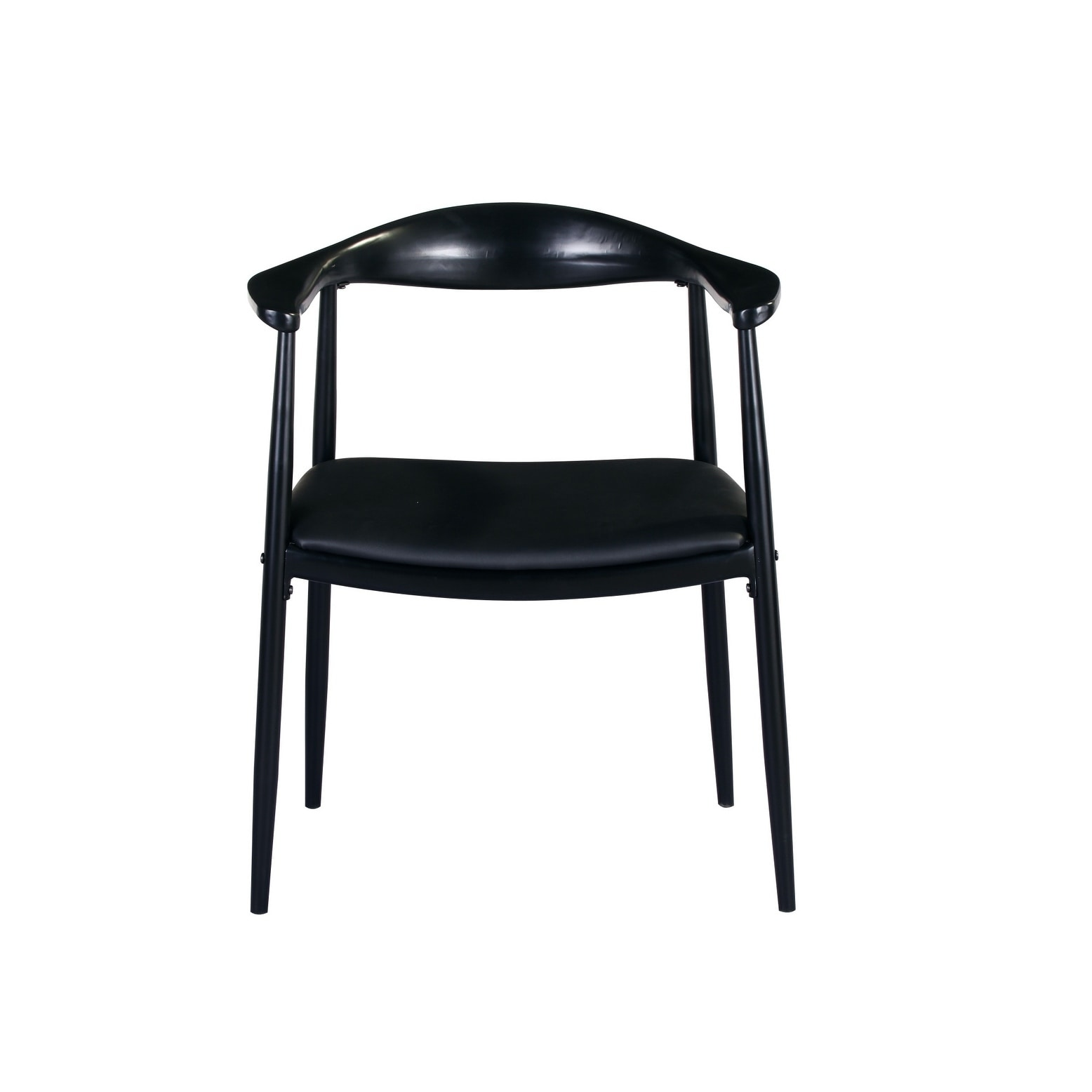 Carbon Loft Palmer Matte Black Dining Arm Chair with Vinyl Seat And Metal Frame (Set of 2)