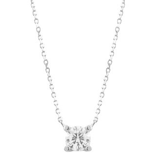 Luxiro Sterling Silver Sparkling Cubic Zirconia Solitaire Necklace