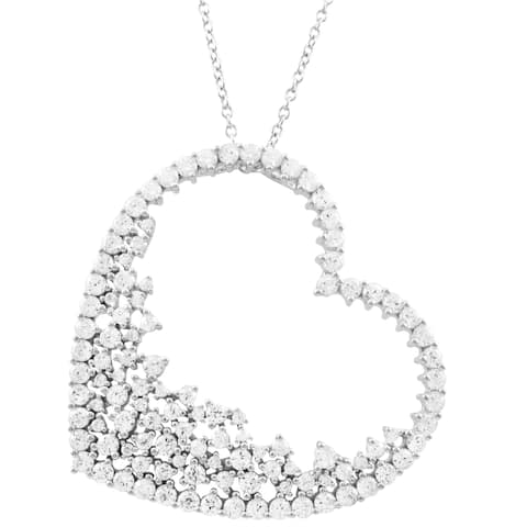Luxiro Sterling Silver White Cubic Zirconia Open Heart Women's Pendant Necklace