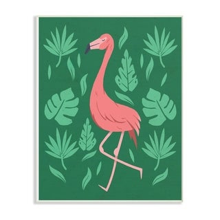 The Stupell Home Decor Collection Pink Flamingo Green Leaves, Wall Plaque, 10 x 0.5 x 15, Made in USA