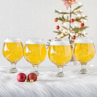 Let's Jingle 16 oz. Belgian Beer Glasses (Set of 4)