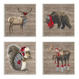 The Stupell Home Decor Collection Wilderness Cold Animals in Buffalo Plaid, Wall Plaque, 4pc, each 12 x 0.5 x 12, Made in USA