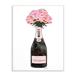 The Stupell Home Decor Collection Champagne Bottle Pink Flowers Watercolor, Wall Plaque, 10 x 0.5 x 15, Made in USA
