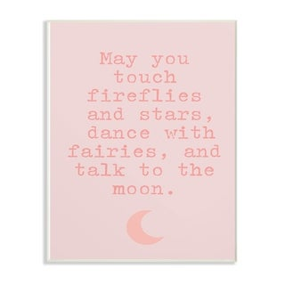 The Kids Room by Stupell Fireflies Stars And Fairies Typography with Pink Moon, Wall Plaque, 10 x 0.5 x 15, Made in USA
