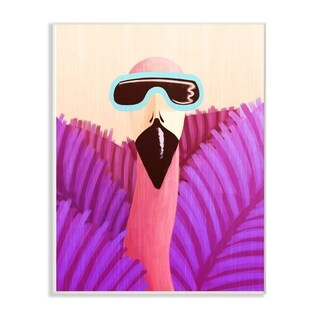 The Kids Room by Stupell Flamingo in Sunglasses And Purple Leaves, Wall Plaque, 10 x 0.5 x 15, Made in USA