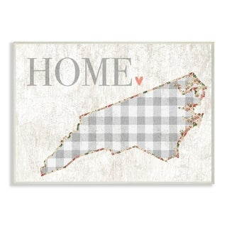The Stupell Home Decor Collection North Carolina Grey Gingham and Floral Heart and Home, Wall Plaque, 10 x 0.5 x 15, Made in USA