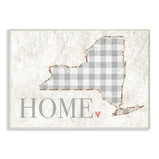 The Stupell Home Decor Collection NYC Grey Gingham and Floral Heart and Home, Wall Plaque, 10 x 0.5 x 15, Made in USA