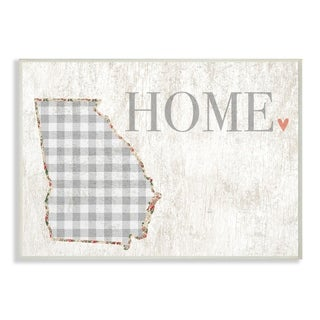 The Stupell Home Decor Collection Georgia Grey Gingham and Floral Heart and Home, Wall Plaque, 10 x 0.5 x 15, Made in USA