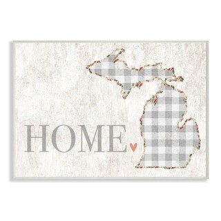 The Stupell Home Decor Collection Michigan Grey Gingham and Floral Heart and Home, Wall Plaque, 10 x 0.5 x 15, Made in USA