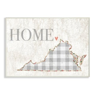 The Stupell Home Decor Collection Virginia Grey Gingham and Floral Heart and Home, Wall Plaque, 10 x 0.5 x 15, Made in USA