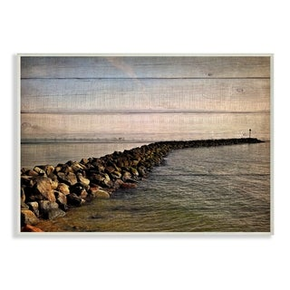 The Stupell Home Decor Collection Rock Path Ocean Plank Photography, Wall Plaque, 10 x 0.5 x 15, Made in USA