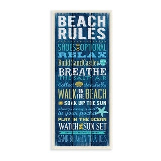 The Stupell Home Decor Collection Beach Rules Relax Breathe Blue Planked Look, Wall Plaque, 7 x 0.5 x 17, Made in USA - 7 x 17