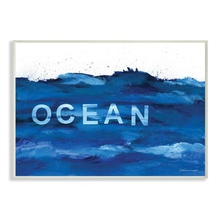 The Stupell Home Decor Collection Minimal Ocean Blue Paint Splash, Wall Plaque, 10 x 0.5 x 15, Made in USA