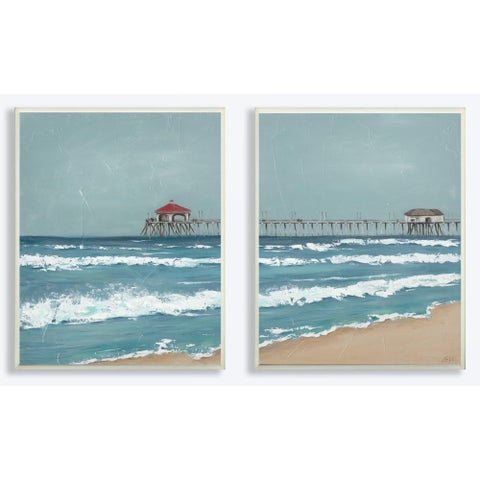 The Stupell Home Decor Collection Fishing Pier Beach Diptych Painting, Wall Plaque, 2pc, each 10 x 0.5 x 15, Made in USA