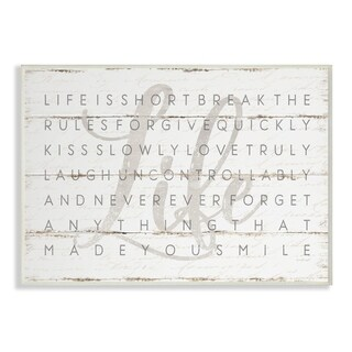 The Stupell Home Decor Collection Life Is Short Smile Grey on White Planked Look, Wall Plaque, 10 x 0.5 x 15, Made in USA