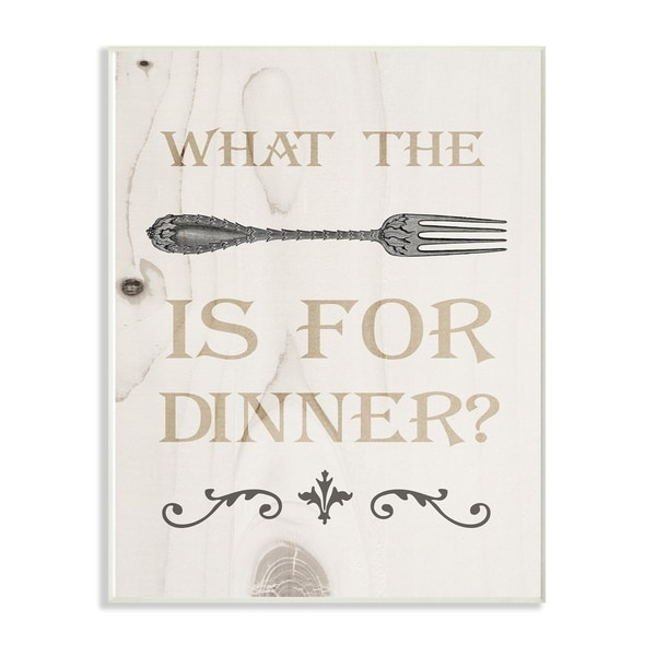 The Stupell Home Decor Collection What The Fork Funny Typography Wood Look, Wall Plaque, 10 x 0.5 x 15, Made in USA