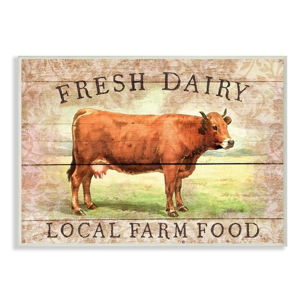 The Stupell Home Decor Collection Fresh Dairy Local Farm Cow Planked Look, Wall Plaque, 10 x 0.5 x 15, Made in USA