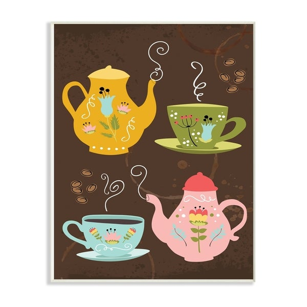 The Stupell Home Decor Collection Kettles And Coffee Cups Chalkboard Look Wall Plaque 10