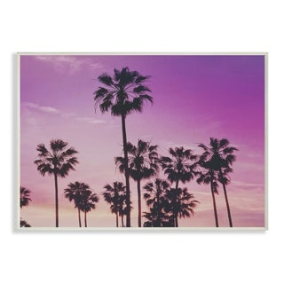 The Stupell Home Decor Collection Tropical Purple Palm trees Photography, Wall Plaque, 10 x 0.5 x 15, Made in USA
