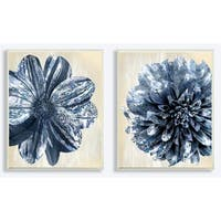 The Stupell Home Decor Collection Indigo White/Tan Marble Blooming Flowers, Wall Plaque, 2pc, each 10 x 0.5 x 15, Made in USA