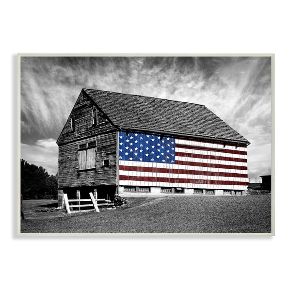 The Stupell Home Decor Collection Black And White Farmhouse Barn American Flag Wall Plaque