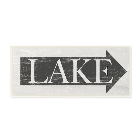 The Stupell Home Decor Collection Lake Arrow Sign Grey and White Distressed, Wall Plaque, 7 x 0.5 x 17, Made in USA - 7 x 17
