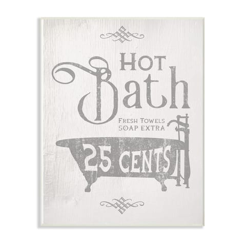 The Stupell Home Decor Collection Grey and White Hot Bath Tub Vintage Sign, Wall Plaque, 10 x 0.5 x 15, Made in USA