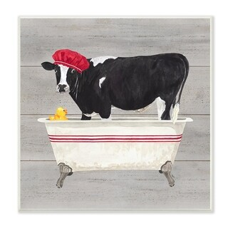 The Stupell Home Decor Collection Bath Time For Cows at Tub Red Black and Grey Painting, Wall Plaque, 12 x 0.5 x 12, Made in USA