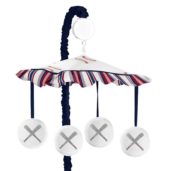 Sweet Jojo Designs Red, White and Blue Baseball Patch Sports Collection Musical Crib Mobile