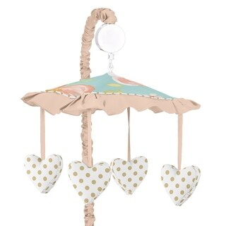 Sweet Jojo Designs Turquoise, Peach and Gold Watercolor Floral Collection Musical Crib Mobile