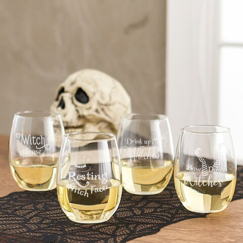 Witch Please! 21 oz. Stemless Wine Glasses (Set of 4)