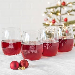 Holiday Trees 21 oz. Stemless Wine Glasses