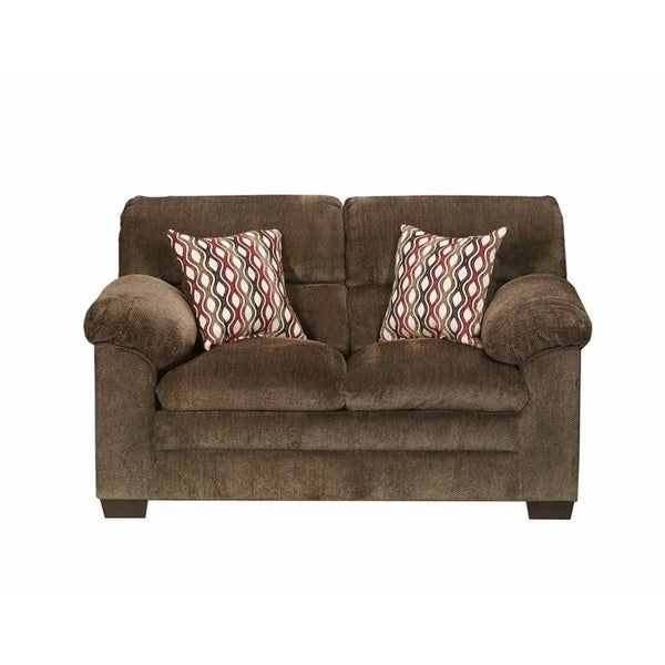 Shop Simmons Upholstery Harlow Chestnut Loveseat On Sale