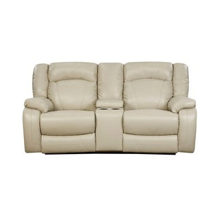 Simmons Upholstery Yahtzee Pearl Power Double Motion Console Loveseat