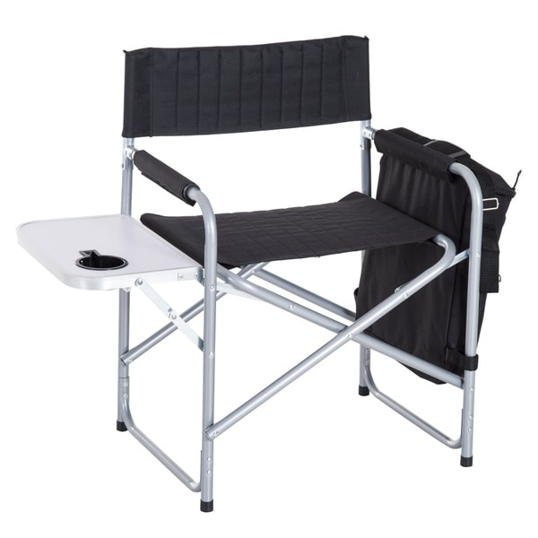 Shop Outsunny Steel Director Folding Camp Chair With Side Table And