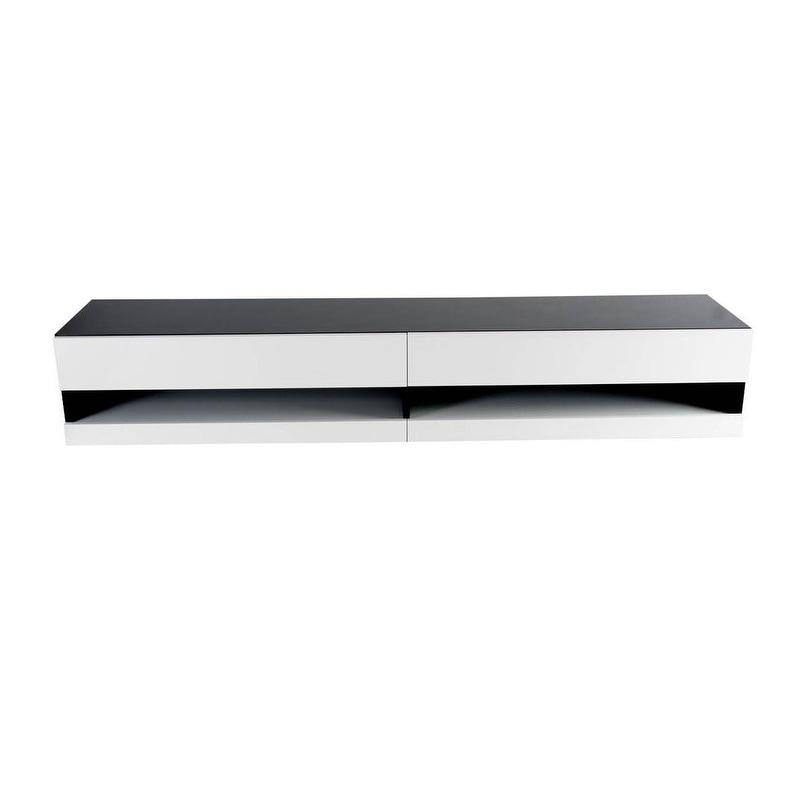 Vigo Black and White High-gloss 2-drawer Modern TV Stand
