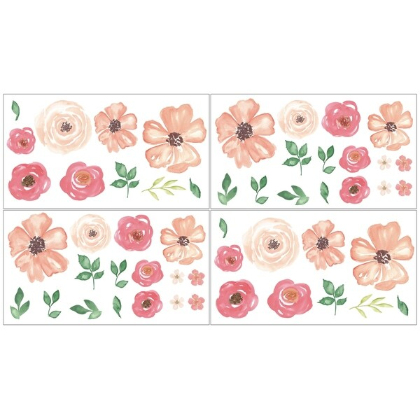 Sweet Jojo Designs Peach Green and White Watercolor Floral Peel and Stick Wall Decal Stickers Art Nursery Decor (Set of 4)