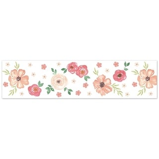 Sweet Jojo Designs Peach and Green Watercolor Floral Collection Wallpaper Wall Border