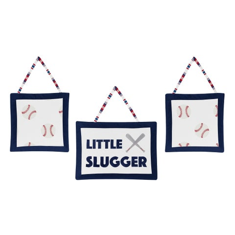 Sweet Jojo Designs Red, White and Blue Baseball Patch Sports Collection Wall Hangings (Set of 3)