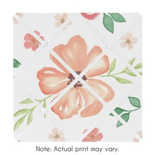 Sweet Jojo Designs Peach and Green Watercolor Floral Collection 13-inch Fabric Memory Photo Bulletin Board