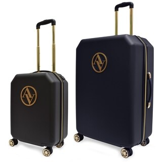 Adrienne Vittadini Hardcase 2 Piece Luggage Set with USB Charger Port- Black