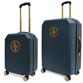 Adrienne Vittadini 2 Piece Teal Hardside USB Charger Port Luggage Set