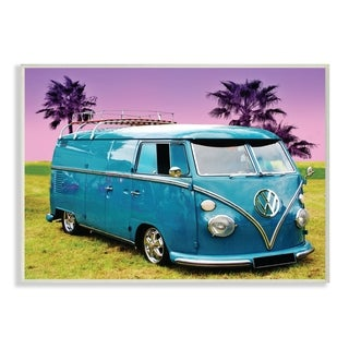 The Stupell Home Decor Collection Vintage 70s Blue VW Bus with Purple Palm Trees, Wall Plaque, 10 x 0.5 x 15, Made in USA