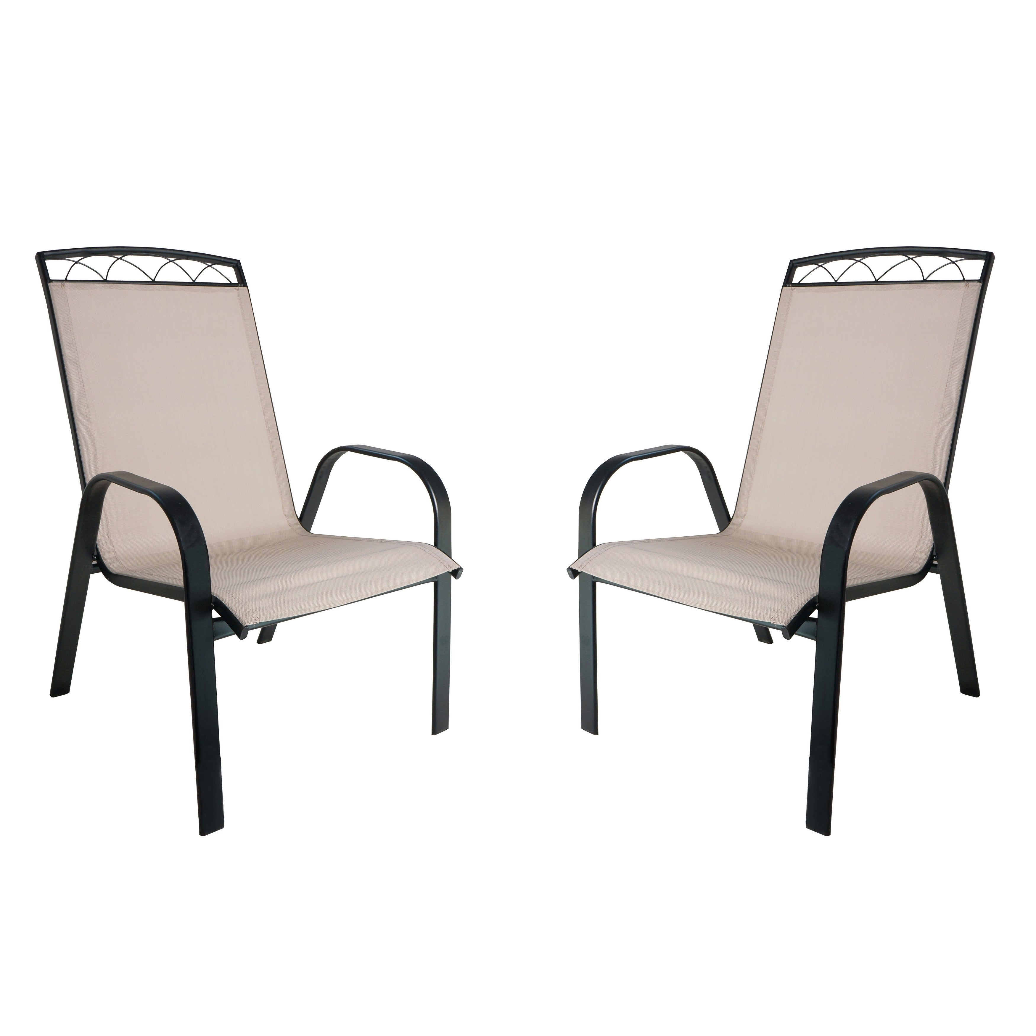 Monticello 2-PC Sling Dining Chairs-Black (Black/beige)